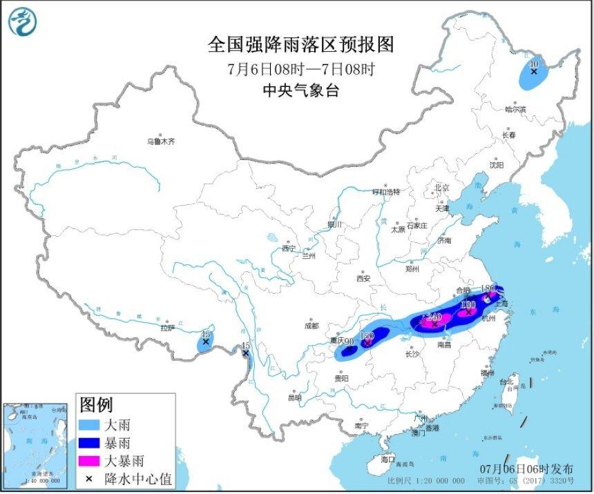 暴雨黄色预警:11省份部分地区有大到暴雨