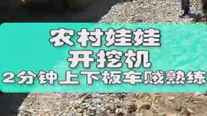 【甲友圈视频】农村娃娃开挖机,2分钟上下板车贼熟练