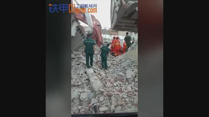 【甲友圈视频】大挖拆楼出事,埋过驾驶室