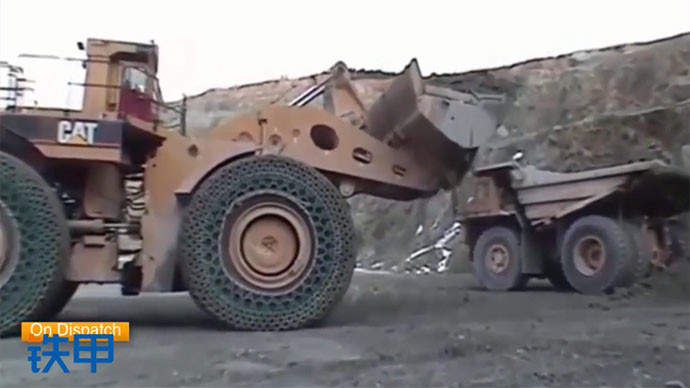 【眼界】锁链轮胎,展示装载机超能力