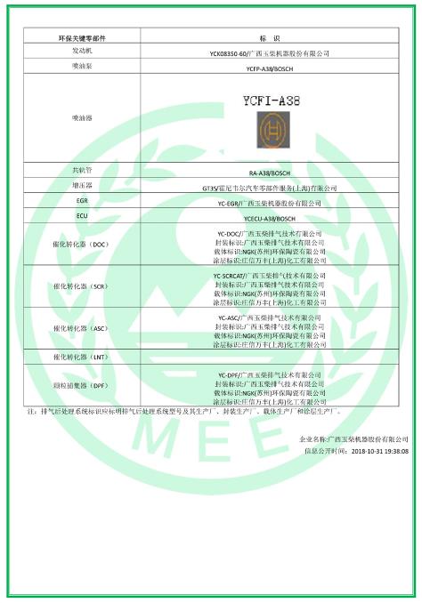 玉柴yck08发动机在中汽研汽车检验中心(天津)有限公司通过了我国重型