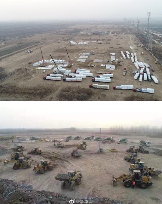 近百台工程机械昼夜施工,石家庄速建集中隔离点
