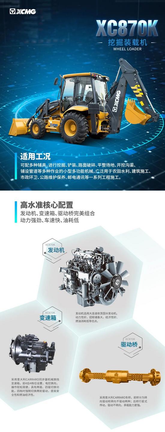【裝載之王·鏟業好車】高效多能,徐工XC870K挖掘裝載機