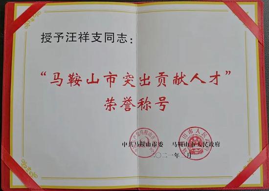 """公司领导汪祥支获第一届""""马鞍山市突出贡献人才""""荣誉称号"""