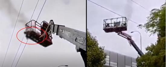 恐怖,無錫一高空作業車作業時不慎碰到高壓線