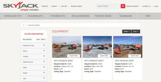 SKYJACK推出二手设备网站