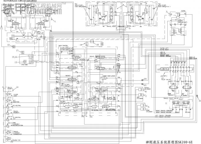 神刚液压系统原理图SK200-6E-Model
