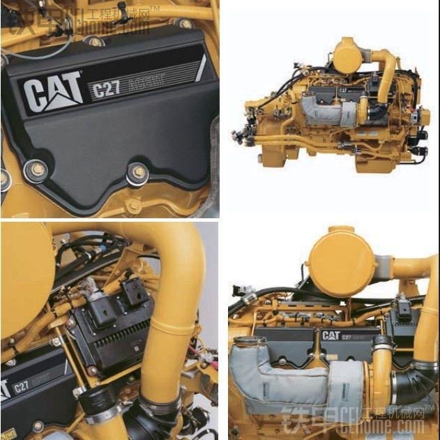 关注完外表之后,再来看看推土机的心脏:动力澎湃的C27发动机。平常我们所见到的20吨级挖掘机配备的发动机,排量一般是在6~7升之间。卡特D10T推土机而排量为27升,当然,还有更大排量的发动机,比如卡特C32发动机,排量就是32升的。C27是一款V12发动机,C27发动机与普通工程机械(如挖掘机、装载机、压路机)不同,因为绝大多数的工程机械采用的是直列式发动机,而C27是V型的发动机,顾名思义,V型发动机的汽缸排列和甲友们平常挖掘的V型排水沟差不多。下图是从书本上拍摄的,因为在推土机上空间有限,无法拍摄发