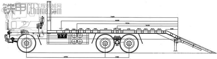 平板车厂家分享后双桥挖机平板车设计图纸