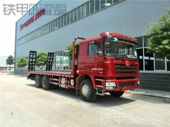 2014年10月最新款国四陕汽德龙F3000平板挖机运输车