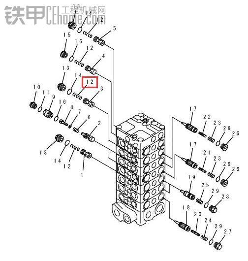 小松130-7分配阀解剖图图片