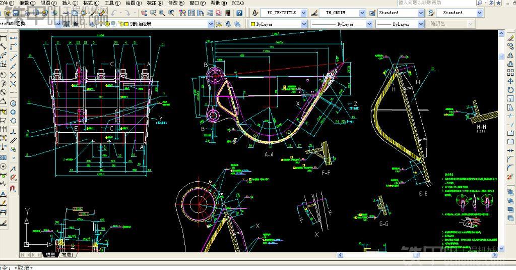 定期放出pc200挖斗cad设计图纸