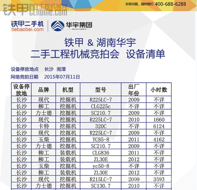 一半设备0元起拍 7.11铁宝贝&湖南华宇专场竞拍招募(设备列表已更新)