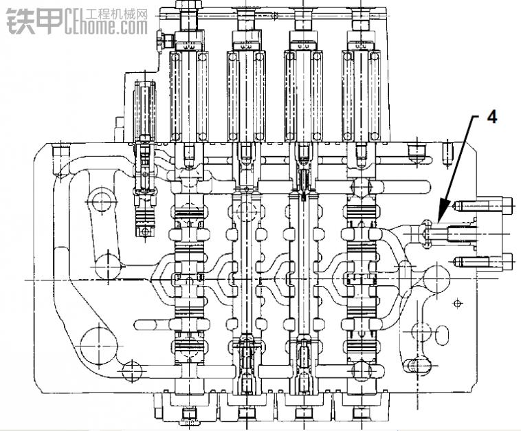 zx230挖掘机分配器原理图与实际分配器阀杆有误