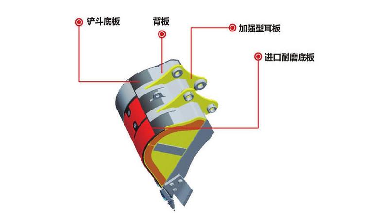 这是三一SY70C挖掘机铲斗展示,据介绍采用的是进口耐磨板以及加强型的背板和耳板,其铲斗使用寿命提升了50%以上。