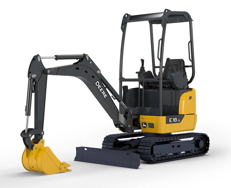 约翰迪尔E18zs迷你挖掘机:整机工作重量1895 kg 铲斗容量0.05 m³ 发动机型号洋马3TNV76 额定功率13.8 kw/rpm 燃油箱22 L