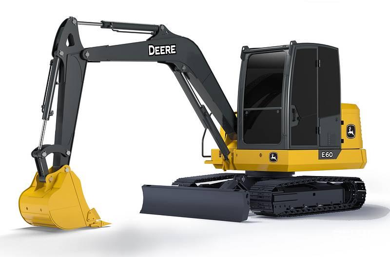 约翰迪尔E60迷你挖掘机:整机工作重量5700 kg 铲斗容量0.22 m³ 发动机型号洋马XSNWAE 额定功率35.9 kw/rpm 燃油箱109 L