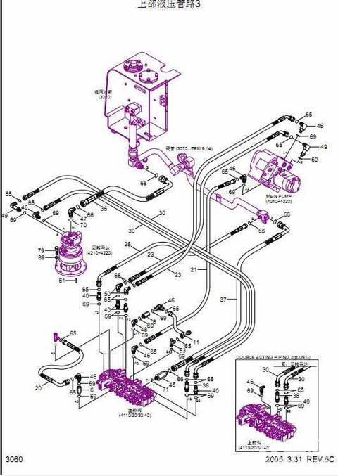 现代60-7挖掘机 全车液压管路 图