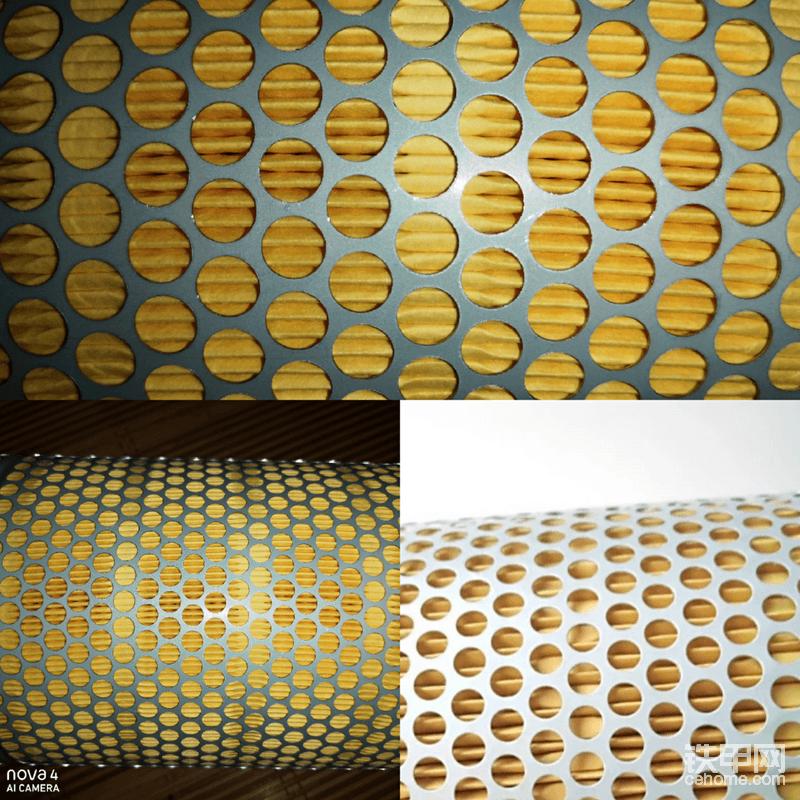 图片中可以看到滤芯的滤纸上有一圈一圈的压痕,这种压痕叫做滤纸纸斑,它的作用是将滤纸的褶皱分离,在进气的压力下褶皱之间的空隙不会相互粘连,保证了集尘能力和进气面积最大化!