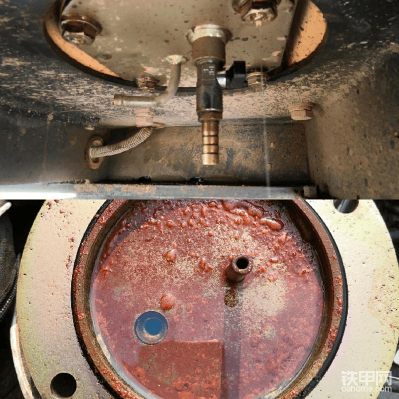 """沉淀池的四颗螺丝拆掉,在螺丝没有完全拧下来之前里面还有少量的柴油,这是因为沉淀池是一个圆形带边的储油池,隔开了储油池与油箱的底部沉淀油,所以要注意不要搞到眼睛里,稍微等一会油漏完就可以了继续拆除了,拿掉以后你就可以看到沉淀池是多么的干净!完全看不到脏,很清洁<img class=""""smiley"""" src=""""/img/smiley/new/tiejia3.gif"""">"""