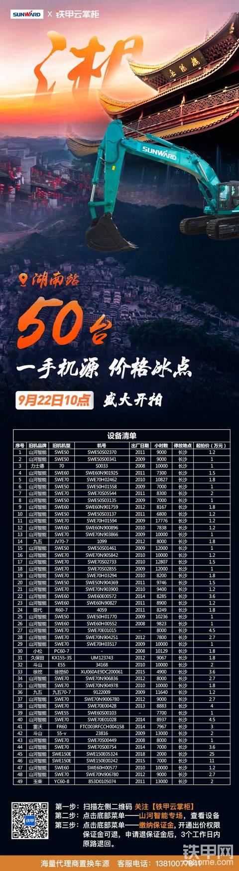 50台设备1万元起拍!山河智能湖南专场拍,震撼来袭!!