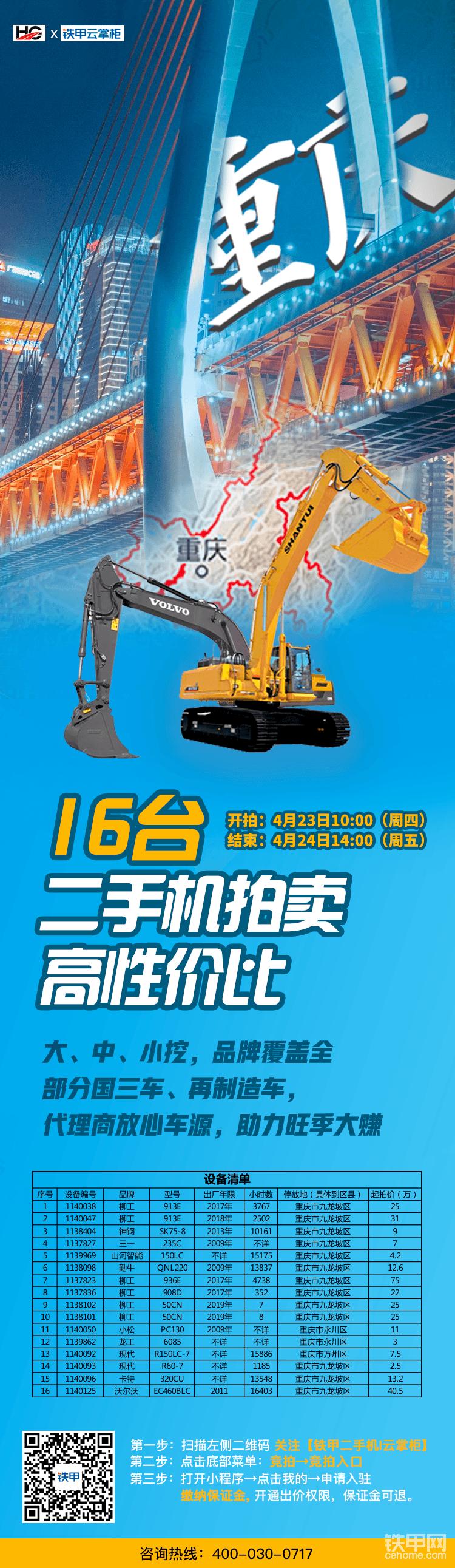 16台挖机!2.5万起拍!坐标重庆!大中小挖,品牌全覆盖-帖子图片