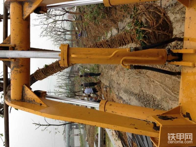 莱工20铲在园林中,起吊种树非常灵活,换上小斗后又可以给搅拌机上料。