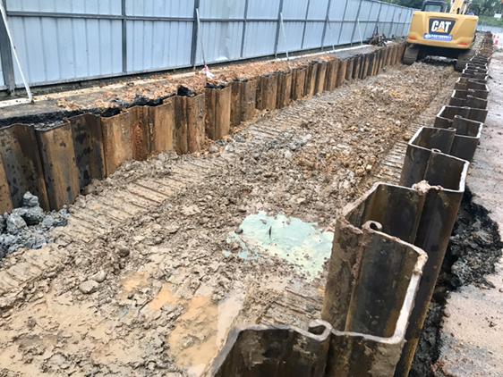 管廊钢板桩施工中