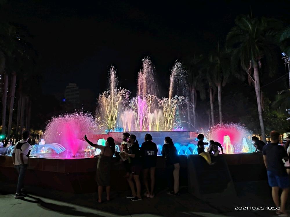 黎刹公园夜景[表情]音乐喷泉